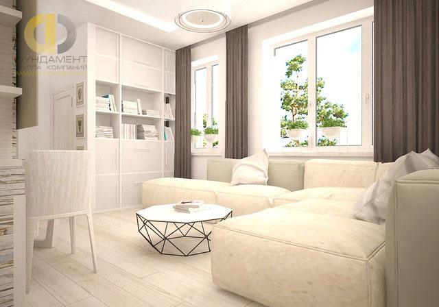 Дизайн светлой гостиной в современном стиле. Фото 2018