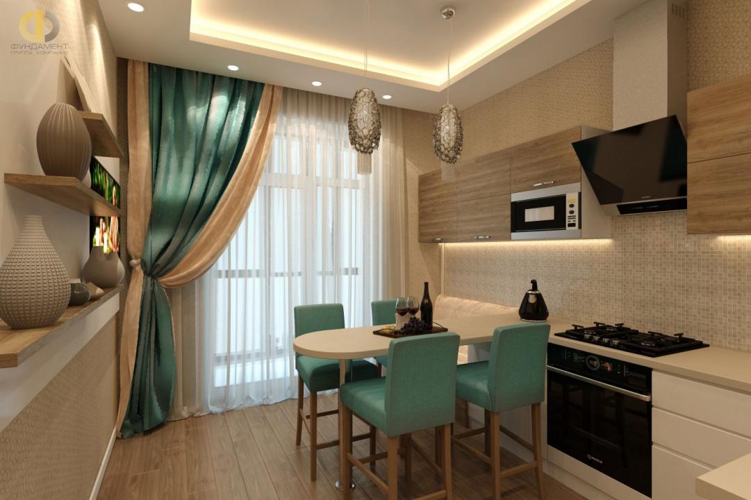 Дизайн кухни 12 кв. м с бирюзовыми акцентами в квартале Вашутино